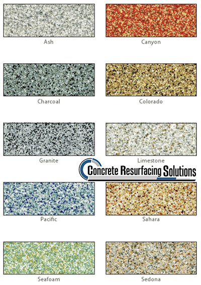 Color options by Concrete Resurfacing Solutions in Chicago, slip-resistant quartz flooring