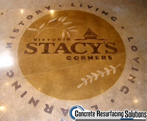 Concrete Resurfacing Solutions can put your logo in a concrete polished floor