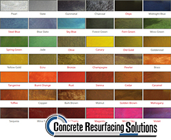 Concrete Resurfacing Solutions in Chicago has a wide variety of colors available for metallic flooring systems.
