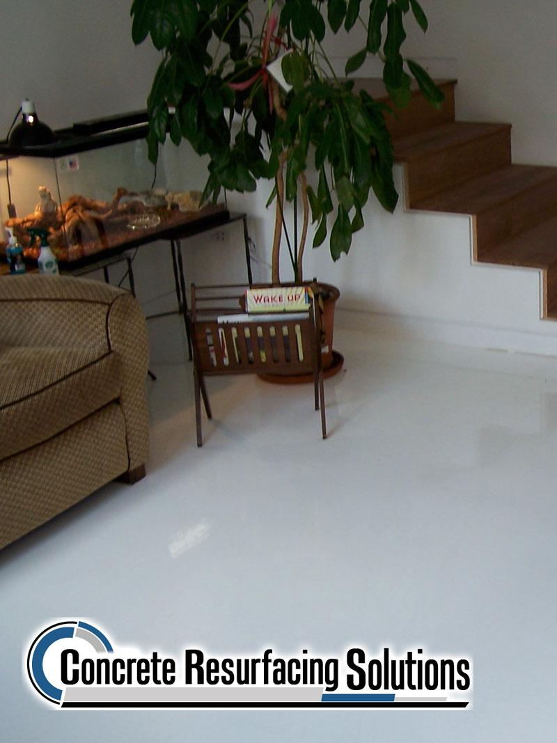 Concrete Resurfacing Solutions options of flake floor, quartz, metallic and more!