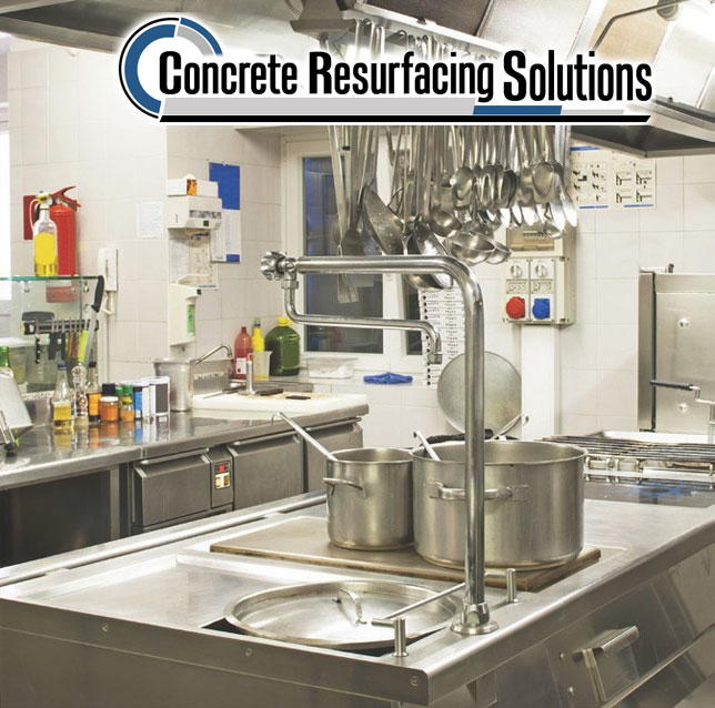 Concrete Resurfacing Solutions hd floor systems are perfect for commercial kitchens.