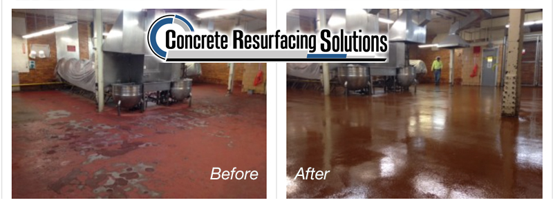 Polished Concrete in manufacturing environment before and after